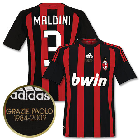 08-09 AC Milan Home Shirt With Grazie Paolo Embroidery