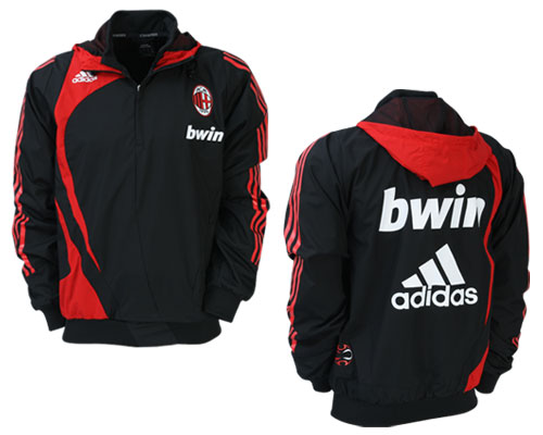 09-10 AC Milan Training Wind Top Black Red